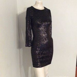 Alice + Olivia Black Sequin Fitted Dress 2